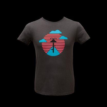 t-shirt fairtrade slowfashion fahrrad sonnenuntergang neon anthrazit fair nachhaltig