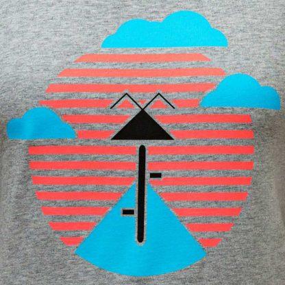 t-shirt fairtrade slowfashion fahrrad sonnenuntergang neon graumliert fair nachhaltig